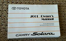 2001 Toyota Solara Owners Manual