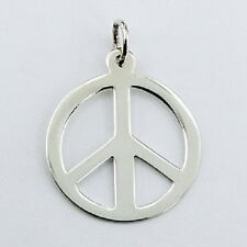 Silver pendant 925 Sterling Small Flat Peace Symbol pendant size 20mmx 27mm NEW