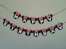 Minnie Mouse Happy Birthday Pink or Red Banner.free shipping