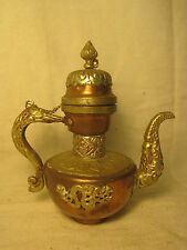 vintage ornate copper & silver-tone metal dragon teapot tea pot