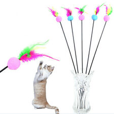 Kitten Play Length Interactive Fun Toy Cat Teaser Wand Pet Feather Xmas  aDyy