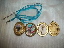 JEWELRY NECKLACE PENDANT PICTURE LOCKET CAMEO LADY & ANGELS KEY TO MY HEART OOAK