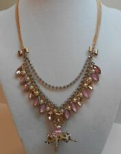 Betsey Johnson Pinktina Ballerina & Shaky Faceted Bead Necklace
