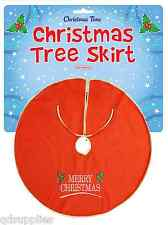Christmas Tree Skirt Red Felt Gold Trim 90cm Base Cover Xmas Decoration W57 058
