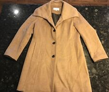 Womens Calvin Klein Winter Car Coat Wool Blend Khaki Size 10