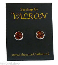 STERLING SILVER WITH COGNAC AMBER STONE SMALL ROUND STUD EARRING