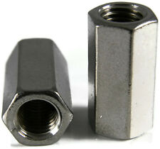 Stainless Steel Coupling Nuts, Threaded Rod UNF,  3/8-24 X 1/2 x 1-1/8, Qty 10