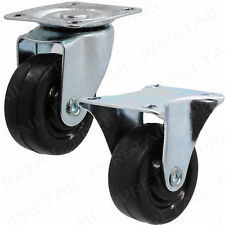 4x BLACK STRONG SWIVEL & FIXED CASTOR WHEEL 40mm Small HOLDS 80KG Trolley Caster