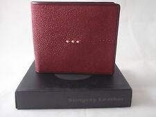 STINGRAY SKIN LEATHER BIFOLD MEN WALLET GENUINE SUPER GRADE MAROON FREE SHIPPING