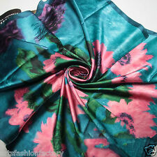 Blue Chiffon Silk like Square Scarf with Satin Oil-painted Flowers Printc