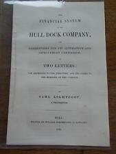 1846 Booklet The Financial System of HULL DOCK COMPANY Alteration & Improvements