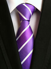 New Classic Striped Purple White JACQUARD WOVEN 100% Silk Men's Tie Necktie