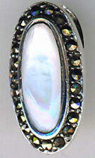 925 Sterling Silver White Mother of Pearl & Marcasite Oval Pendant  Length 7/8""