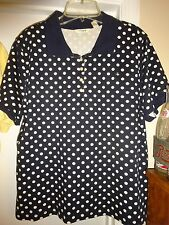 Liz Claiborne New York Short Sleeve Blouse Top XL Cotton Black with White Dots