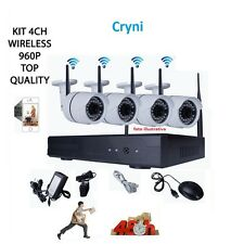 KIT VIDEOSORVEGLIANZA WIRELESS FULL WIFI HD IP 4 TELECAMERE NVR LAN REMOTO 3G