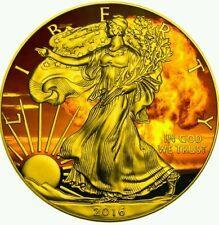 ARMAGEDDON EAGLES  2016 American Silver Eagle 1 oz Coin Color and 24K Gold..