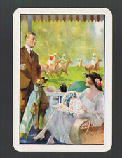 """Playing Swap Cards 1 VINT WIDE GENUINE """"AT THE RACES""""  EDWARDIAN  HORSES  EW24"""
