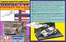 ANEXO DECAL 1/43 PEUGEOT 205 T16 E2 TIMO SALONEN R.MONTECARLO 1986 (01)