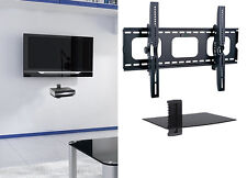 "Flat Tilting TV Wall Mount With Single Shelf DVD for 55 60 65 70 75"" 80"" 85"" tv"