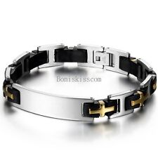 Black Rubber Silicone Silver Gold Tone Cross Stainless Steel Link Mens Bracelet
