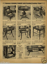 1952 PAPER AD Cowen Padded Leather Tops Cocktail Table Book Case Lamp Drum Nest