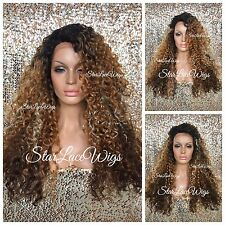 Curly Lace Front Wig Brown Auburn Blonde Ombre Mixed Highlights Layers Heat Safe