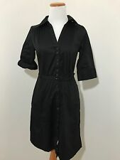 H&M Collared Shirt Dress Size 8 Black Career Belted Button Up F48