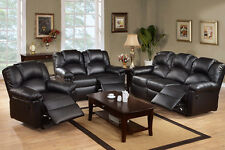 Bonded Leather Black 3 Pc Motion Sofa Loveseat Recliner Living Room Furniture