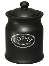 Tuftop Company Ascot Black Coffee Storage Canister Jar Container Pot Ceramic New