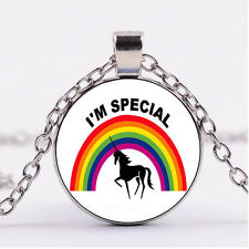Photo Cabochon glass necklace Silver charms pendant(i'm special-unicorn