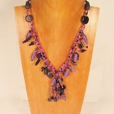 "18"" Short Tassel Classic Vintage Purple Handmade Seed Bead Necklace"
