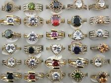 Job Lots 30pcs Rhinestone Big Zirconia Gold P Colorful Charm Top Quality rings