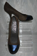 OFFICE LONDON Brown/Black Leather/Suede Slim High Heels Court Shoes Size:6/39