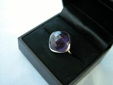 LOT 501 STUNNING FACETED SQUARE AMETHYST SOLID STERLING SILVER RING - SIZE J