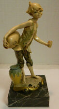 "Vintage Depose, Italy Water Boy Sculpture (971) on Marble Base 9.5"" x 4"" Signed"