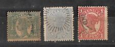 Australian States - Queensland 3 Different Stamps Used