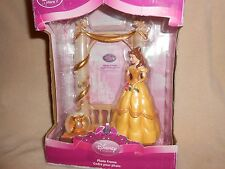 DISNEY STORE BEAUTY AND THE BEAST PRINCESS BELLE PHOTO FRAME w MINI SNOWGLOBE