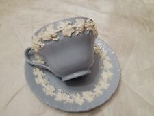 Vintage Blue/white Wedgwood embossed Queens ware tea cup & saucer