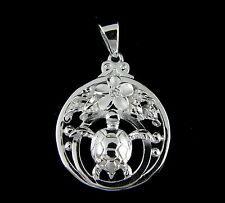 STERLING SILVER 925 HAWAIIAN PLUMERIA FLOWER SEA TURTLE HONU MAILE LEAF PENDANT
