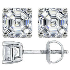 3.00CT ASSCHER CUT STUD EARRINGS 14K WHITE GOLD SCREW BACK # EA-001
