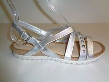Ecco Size 9 to 9.5 DAGMAR Silver Leather Cross Dress Sandals New Womens Shoes