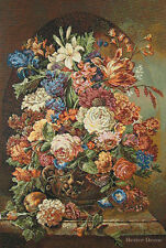 """32"""" WALL WOVEN TAPESTRY Flemish Bouquet EUROPEAN DECOR -VICTORIAN FLORAL PICTURE"""