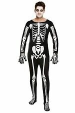 MENS FANCY DRESS HALLOWEEN SKELETON BODYSUIT ONE SIZE