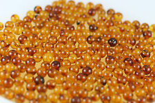 Genuine BALTIC amber loose beads holed Brown color Perfect ROUND 5gr   ~60pcs