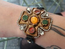 VINTAGE ITALIA Dolce & Gabbana DG Placcato Oro Croce Cristallo Ambra braccialetto dello smalto