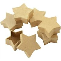 SET 10 STAR SHAPE PAPER MACHE CRAFT BOXES & LIDS FOR DECORATION DECOUPAGE 7074