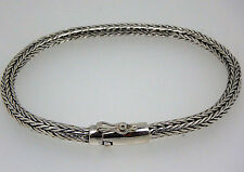"Solid Silver Bali Snake Chain  Sterling Silver Bracelet 8.0"" 4 mm 18 gms"