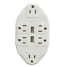 IdeaWorks USB+Electric Outlet Multiplier 6 Wall sockets 2 USB Port Phone charger