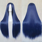 new Womens Long Straight Full Hair Wigs Dark Blue Cosplay Costume Party Wig