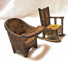 Pair of Antique Cast Iron Toy Chairs Kilgore Co Doll House Miniature 1920s